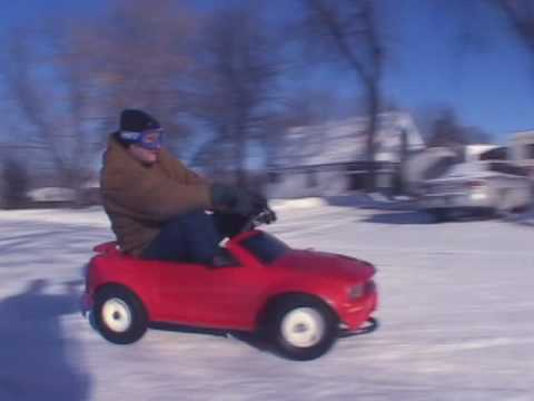 Over Powered Powerwheels Snow Jam Barbie Jeep vs. Corvette vs. F150 vs. Mustang Crazy Drift